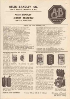 Allen-Bradley Company 1948 Vintage Catalog Electrical Motor Controls