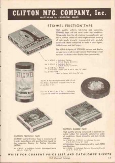 Clifton Mfg Company 1949 Vintage Catalog Stixwell Friction Rubber Tape