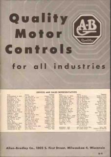 Allen-Bradley Company 1949 Vintage Catalog Electric Motor Controls