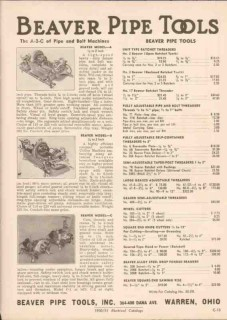 Beaver Pipe Tools Inc 1951 Vintage Catalog Bolt Machines Threaders