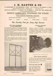 J H Baxter Company 1951 Vintage Catalog Poles Long-Life Douglas Fir