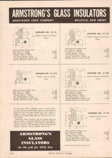 Armstrong Cork Company 1951 Vintage Catalog Electric Glass Insulators