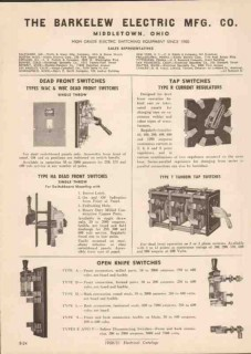Barkelew Electric Mfg Company 1951 Vintage Catalog Switches Dead Front