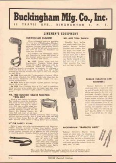 Buckingham Mfg Company 1952 Vintage Catalog Electric Lineman Equipment