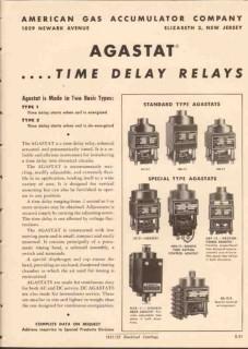American Gas Accumulator Company 1952 Vintage Catalog Relays Agastat