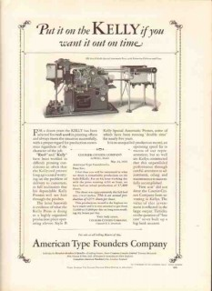 american type founders company 1926 kelly automatic press b vintage ad