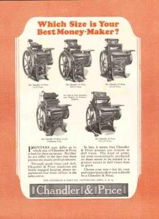 chandler price company 1926 size best money-maker printing vintage ad