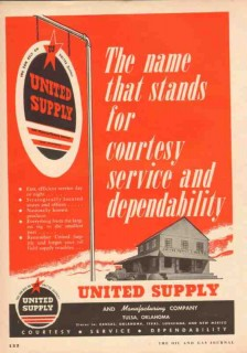 United Supply Mfg Company 1953 Vintage Ad Oil Field Courtesy Service