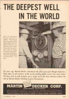 Martin-Decker Corp 1953 Vintage Ad Oil Weight Indicator Deepest Well