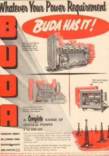 Buda Company 1953 Vintage Ad Oil Field Engine Power Requirement