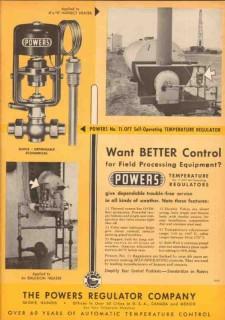 Powers Regulator Company 1953 Vintage Ad Oil Better Control Equipment