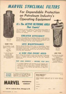 Marvel Engineering Company 1953 Vintage Ad Oil Field Synclinal Filters