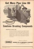 Humble Oil Refining Company 1953 Vintage Ad Breaxit Emulsion Breaking