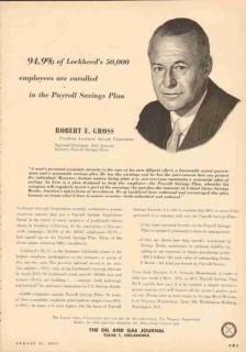 lockheed aircraft corp 1953 robert e gross payroll savings vintage ad