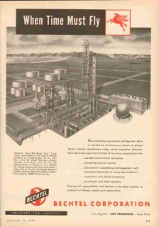 Bechtel Corp 1953 Vintage Ad Socony-Vacuum Oil Company Time Must Fly