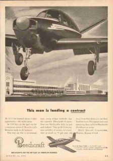 beech aircraft corp 1953 bonanza airplane landing contract vintage ad