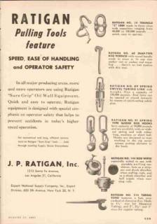 J P Ratigan Inc 1953 Vintage Ad Oil Field Pulling Tools Speed Handling