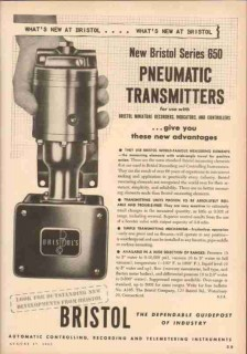 Bristol Company 1953 Vintage Ad Oil Pneumatic Transmitters Remote