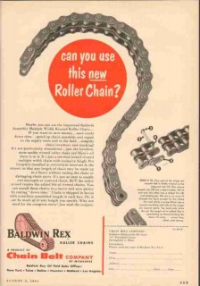 Chain Belt Company 1955 Vintage Ad Oil Field Baldwin Rex Roller New