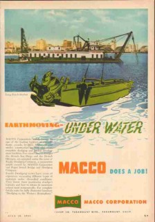 MACCO Corp 1953 Vintage Ad Earthmoving Under Water Pacific Dredging