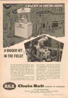 Chain Belt Company 1953 Vintage Ad Oil Field Centrifugal Pump Big Hit