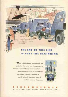 Schlumberger Well Surveying Corp 1953 Vintage Ad End Of Line Beginning