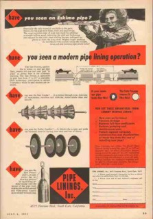 American Pipe Construction Company 1953 Vintage Ad Oil Eskimo Linings