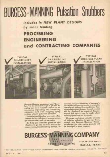 Burgess-Manning Company 1953 Vintage Ad Oil Pulsation Snubbers Process