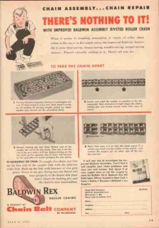 Chain Belt Company 1953 Vintage Ad Baldwin Rex Assembly Riveted Roller