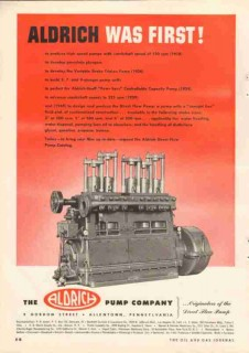 aldrich pump company 1951 first develop produce high speed vintage ad