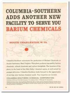 columbia-southern chemical 1959 new facility serve barium vintage ad