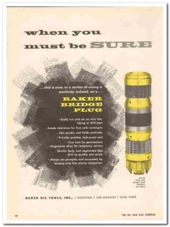 Baker Oil Tools Inc 1959 Vintage Ad Must Be Sure Wire Line Bridge Plug