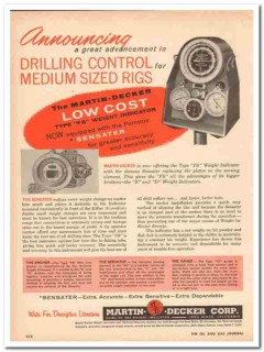 Martin-Decker Corp 1959 Vintage Ad Oil Drilling Control Medium Rigs