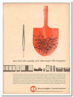 burroughs corp 1959 both jobs equally well 205 computer oil vintage ad