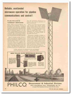 Philco Corp 1959 Vintage Ad Reliable CLR-9 Microwave Pipeline Control