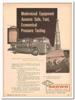 Brown Oil Tools Inc 1959 Vintage Ad Modernized Equipment Pressure Test