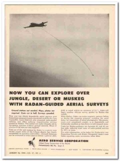 Aero Service Corp 1959 Vintage Ad Surveys Explore Radan-Guided Aerial