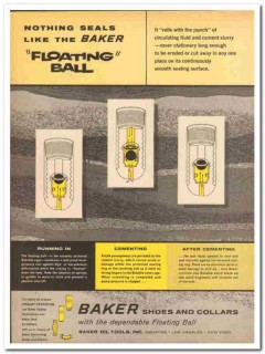 Baker Oil Tools Inc 1959 Vintage Ad Floating Ball Seals Shoes Collars