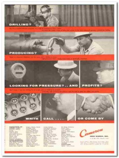 Cameron Iron Works 1959 Vintage Ad Drilling Producing Pressure Profits