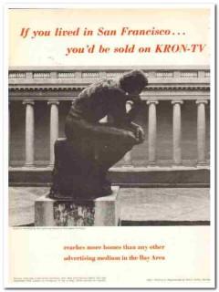 kron-tv 1973 rodins thinker california palace legion honor vintage ad