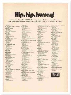 broadcast music inc 1973 country bmi achievement awards vintage ad