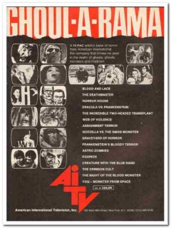 american international television inc 1973 ghoul-a-rama vintage ad
