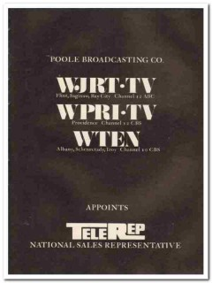 poole broadcasting company 1973 wjrt-tv wpri-tv wten media vintage ad