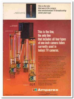 amperex electronics corp 1973 four types one-inch cam tubes vintage ad
