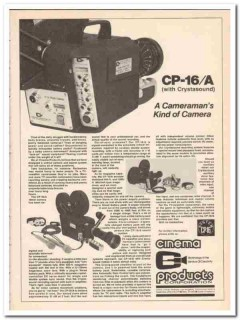 cinema products corp 1973 cp-16-a cameramans kind of camera vintage ad