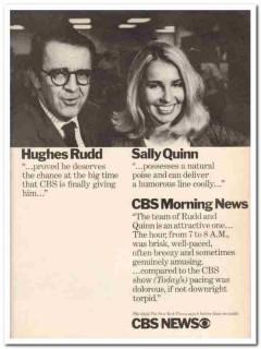cbs news 1973 hughes rudd sally quinn morning tv media vintage ad