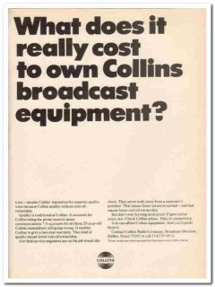 collins radio company 1973 cost broadcast equipment media vintage ad