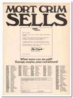 alcare communications 1973 mort crim sells radio broadcast vintage ad