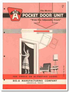 Big-A Mfg Company 1958 Vintage Catalog Pocket Doors Single Bi-Parting