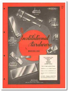 Brookline Mfg Company 1958 Vintage Catalog Door Hardware Institutional